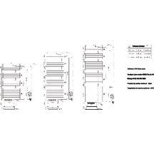 Sèche-serviettes CONCERTO asymétrique hauteur 1054 mm largeur 550 mm ...