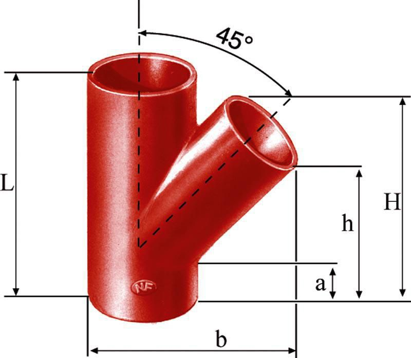 Culotte simple SMU S à 45° - fonte - Ø nominal 100/100 mm