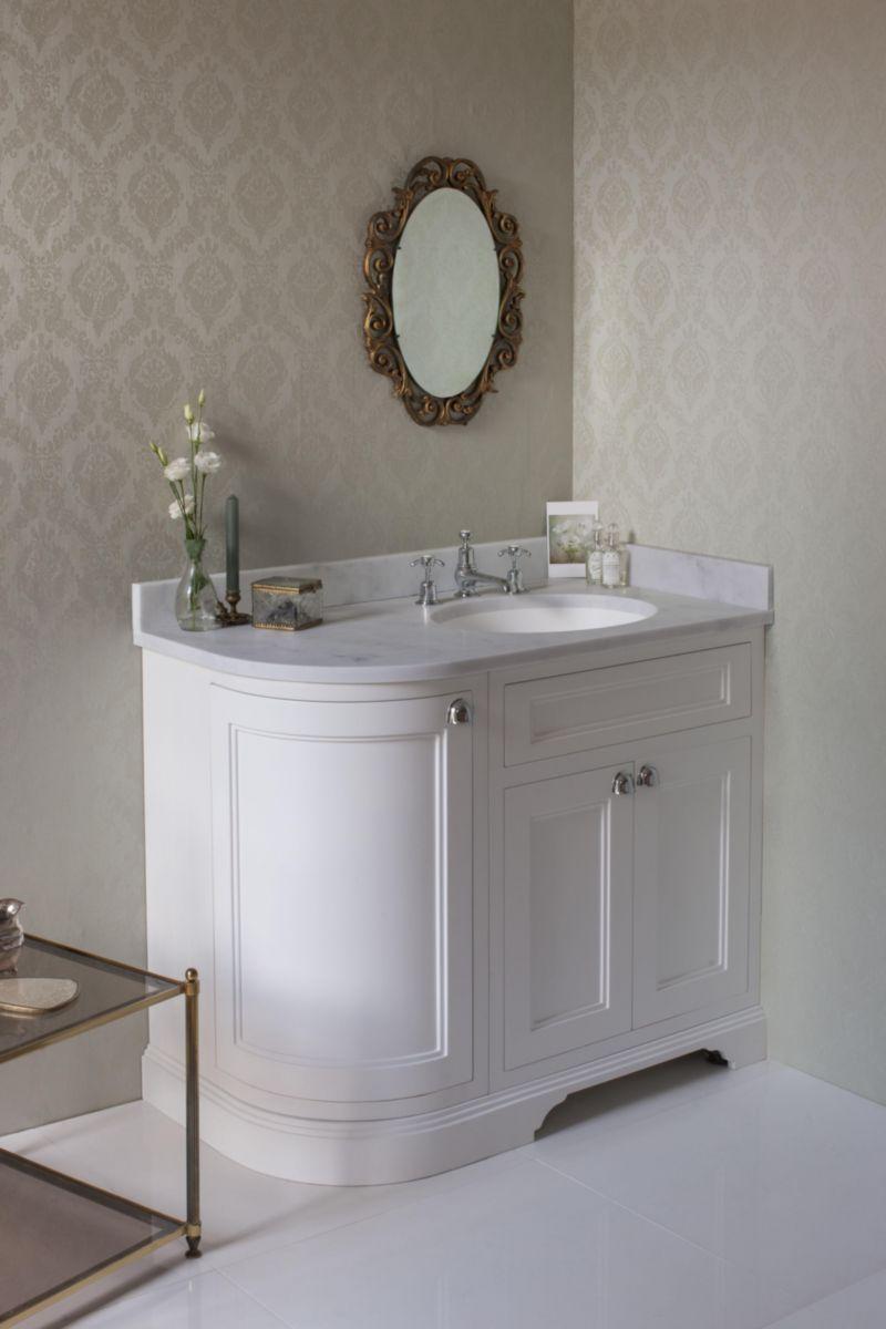 Meuble salle de bain BURLINGTON version d\'angle blanc brillant 100 ...