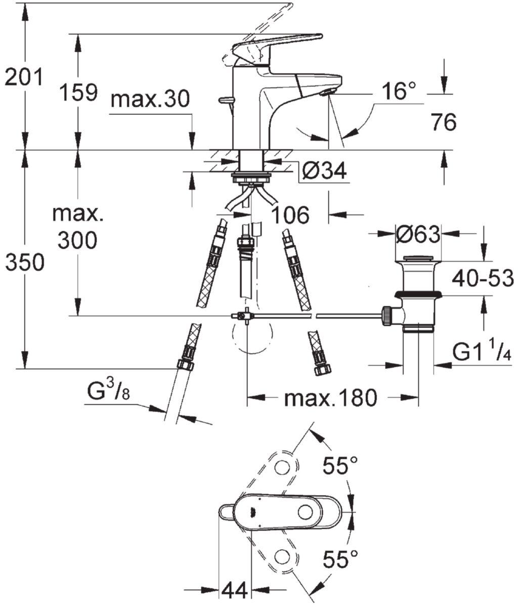 Mitigeur de lavabo EUROPLUS monocommande 15 x 21, monotrou, bec extractible avec mousseur, tirette et garniture de vidage 33 x 42, chromé ré