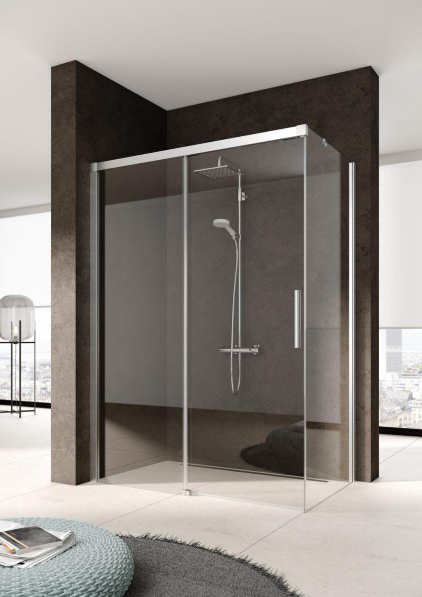 Rothalux paroi de douche en verre nica d2 l hauteur 2 m largeur 130 cm argent poli clair clean - Porte coulissante pour douche de 130 cm ...