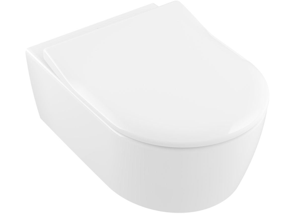 WC suspendu AVENTO caréné, sans bride, abattant ultrafin, frein de chute, déclipsable