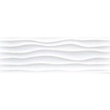 Carrelage mural intérieur faïence Millenium décor Flow Blanco Mate - 30x90 cm