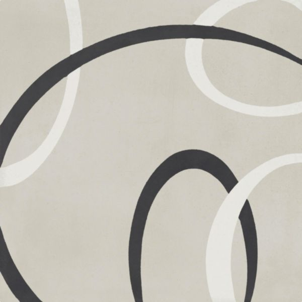 Carreau sol intérieur ciment CIMI42 - décor moderne gris clair/blanc/noir - 20x20 cm