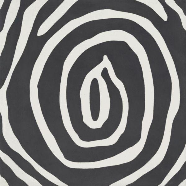 Carreau sol intérieur ciment CIMI44 - décor moderne spirale anthracite - 20x20 cm