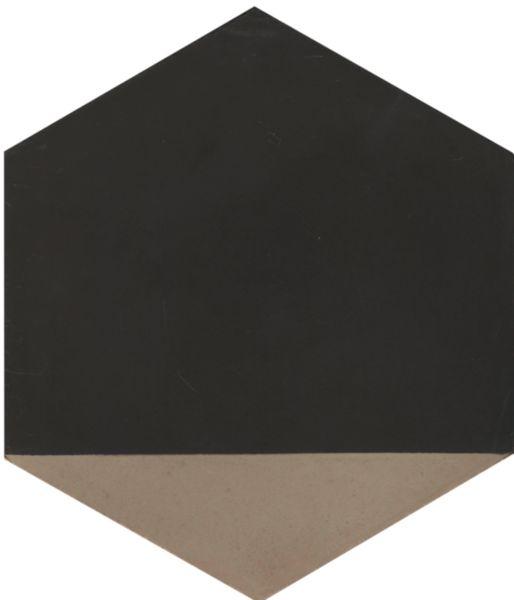 Carreau sol intérieur ciment CIMI45 - hexagone décor moderne anthracite/pointe gris clair - 20x23 cm