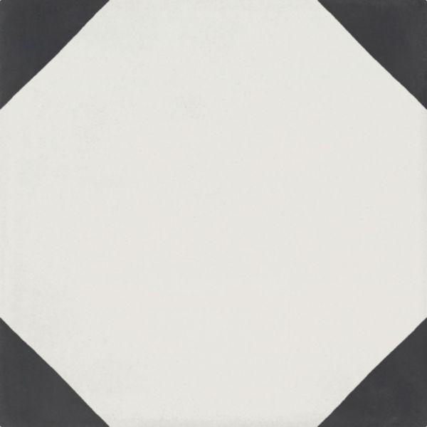 Carreau ciment Bati Orient Classique angles blanc/anthracite 16mm 20x20cm CIMI47