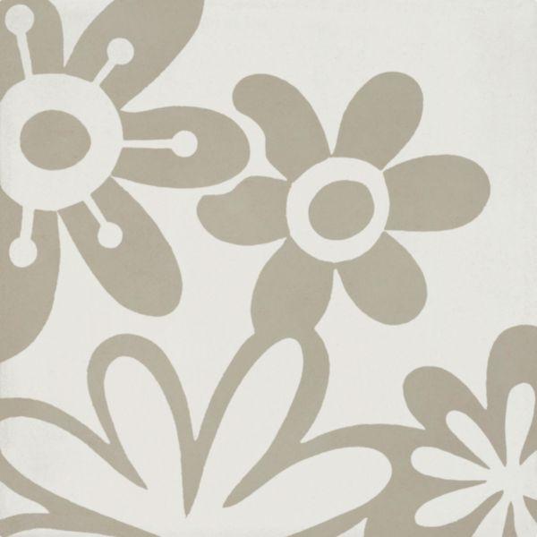 Carreau sol intérieur ciment CIMI51 - décor vintage fleur blanc/gris clair - 20x20 cm