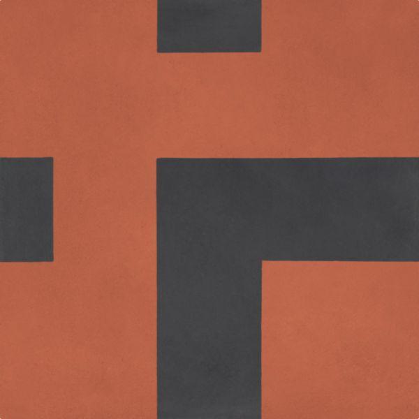 Carreau sol intérieur ciment CIMI52 - angle décor moderne rouge/noir - 20x20 cm