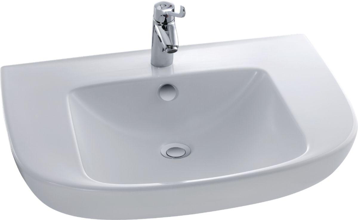 Lavabo Personne Mobilité Réduite lavabo autoportant, 70x56,5cm, percé 1 trou conforme aux réglementations  pmr robinetterie conseillée : easy e18161-cp réf. e4495-00