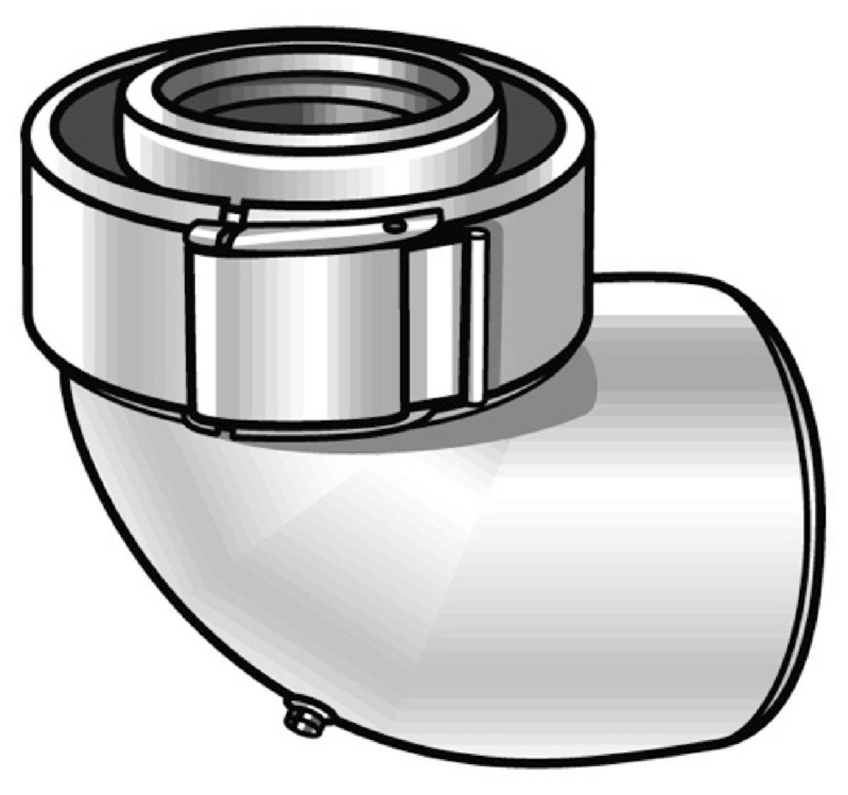 Coude 90° en aluminium et PVC diamètre 60 / 100 système collier réf. 227233