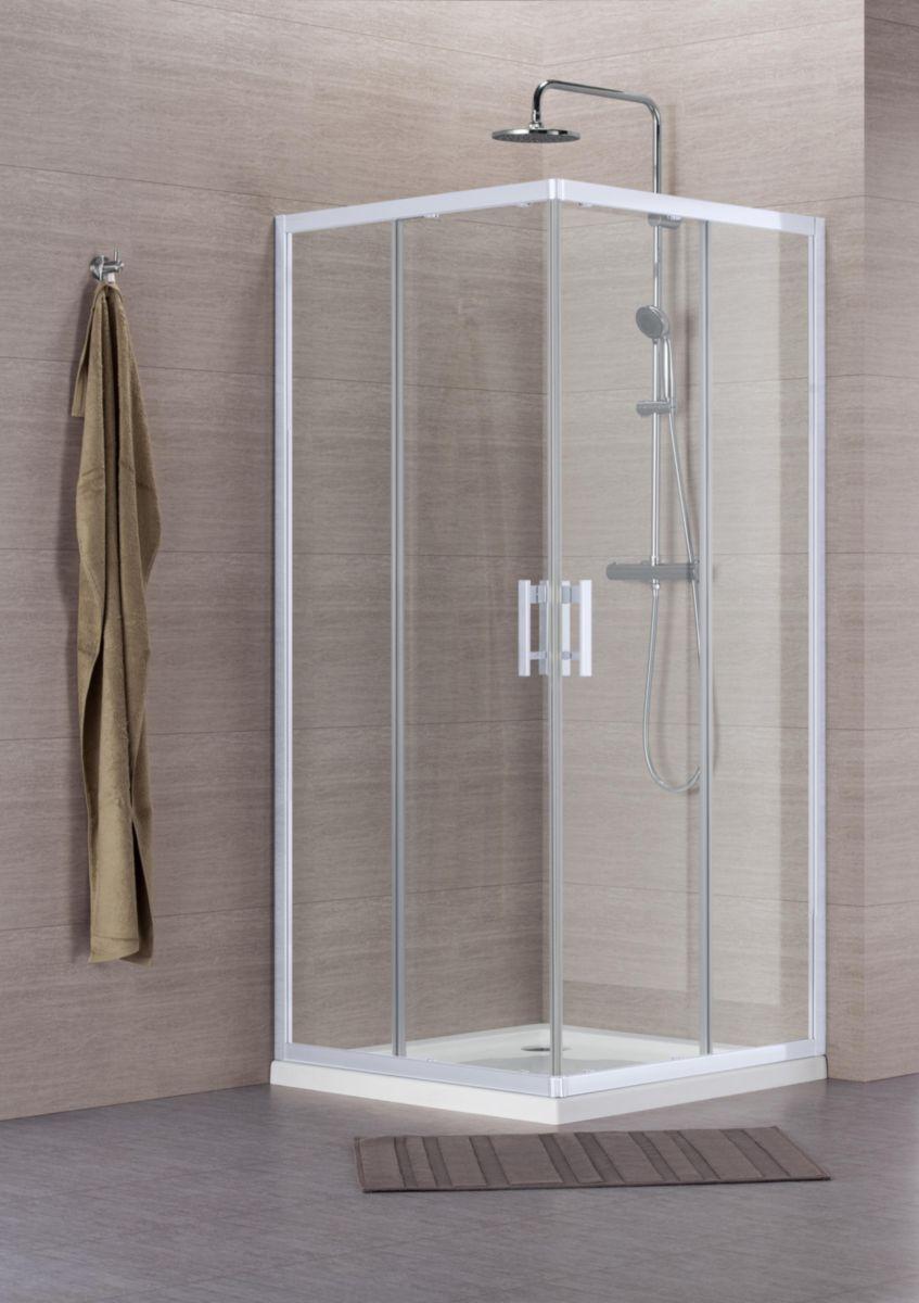 perfect cheap paroi de douche concerto accs duangle coulissant xcm profil blanc verre. Black Bedroom Furniture Sets. Home Design Ideas