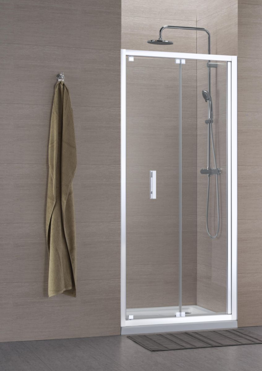 paroi de douche concerto accs de face escamotable x cm profil blanc verre transparent alterna. Black Bedroom Furniture Sets. Home Design Ideas
