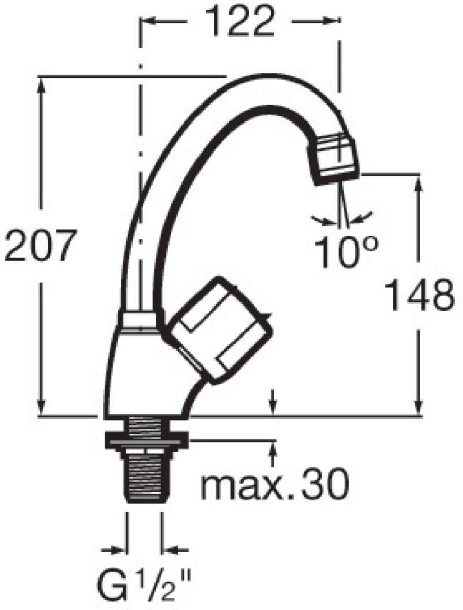 Robinet simple NIAGARA+N monotrou, à bec orientable, pour lavabo, évier et lave-mains, chromé réf. A5A5169C00