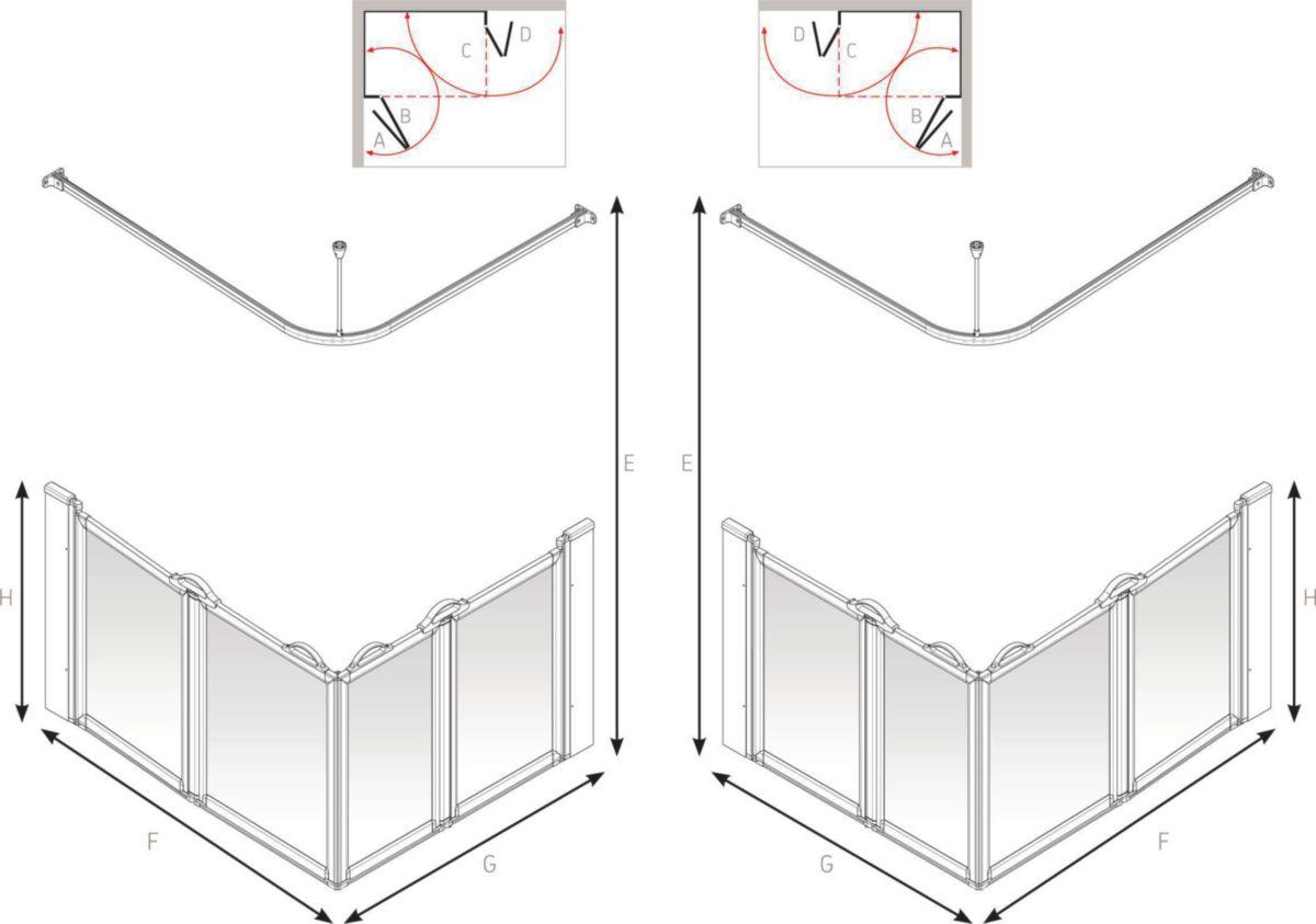 Paroi de douche en angle option E 900 x 900 x 900 mm Réf. 92046N
