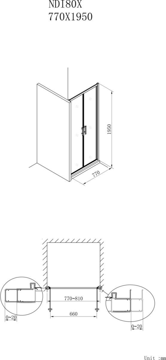 Paroi de douche Concerto accès de face 2 portes battantes 80 cm profilé argent brillant verre sérigraphié