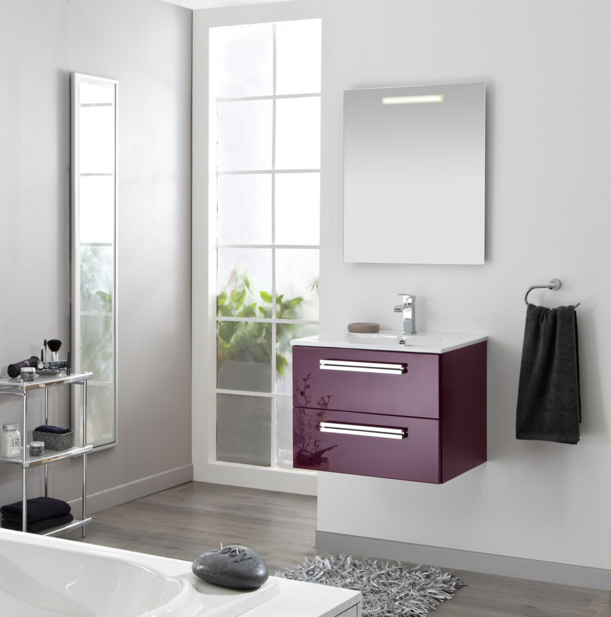 meuble sous vasque seducta 60 cm 2 tiroirs aubergine alterna sanitaire brossette - Meuble Salle De Bain Brossette