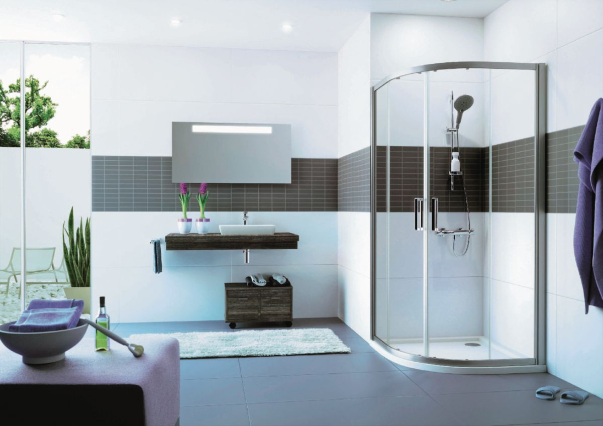 Paroi de douche Classics 2 Elegance - porte coulissante 1/4 rond 800 / 800 x 2000 - R550 Réf. C20618069321