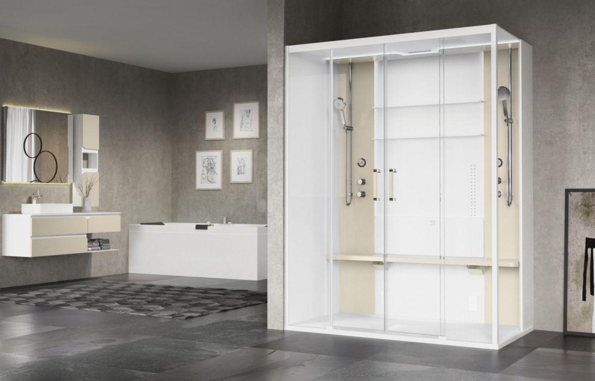 En haut Cabine de douche avec hammam Skill 2A 160x97 en verre transparent &LW_19