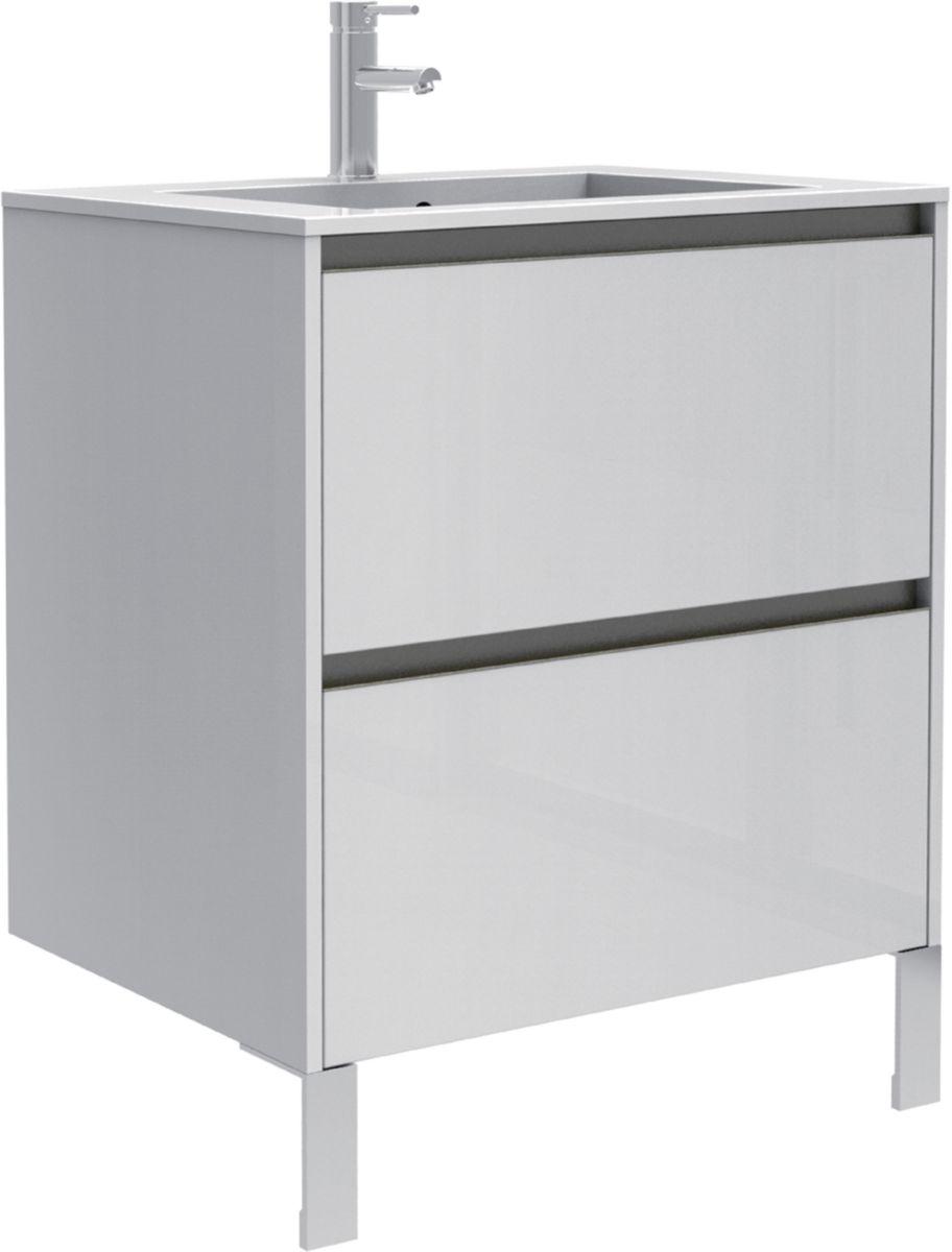 meuble sous vasque plenitude 70 cm 2 tiroirs p50 blanc alterna sanitaire brossette - Meuble Vasque 70 Cm