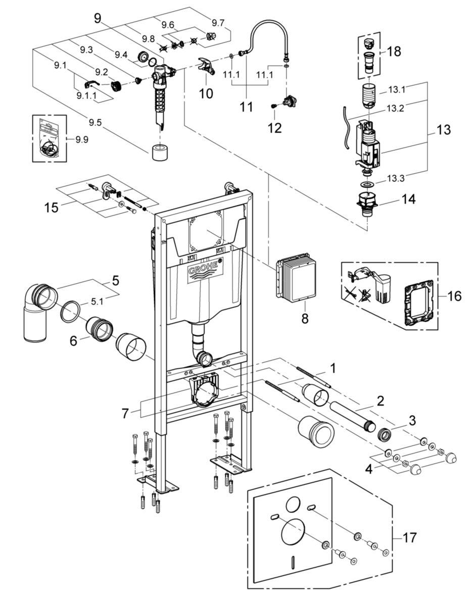 Notice Installation Wc Suspendu Grohe bâti-support rapid sl, pour wc, autoportant avec pieds renforcés, hauteur  1,13 m, réf. 38340001