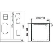 Cabine de douche concerto 90 x 90 cm acc s de face porte for Cabine de douche cedeo