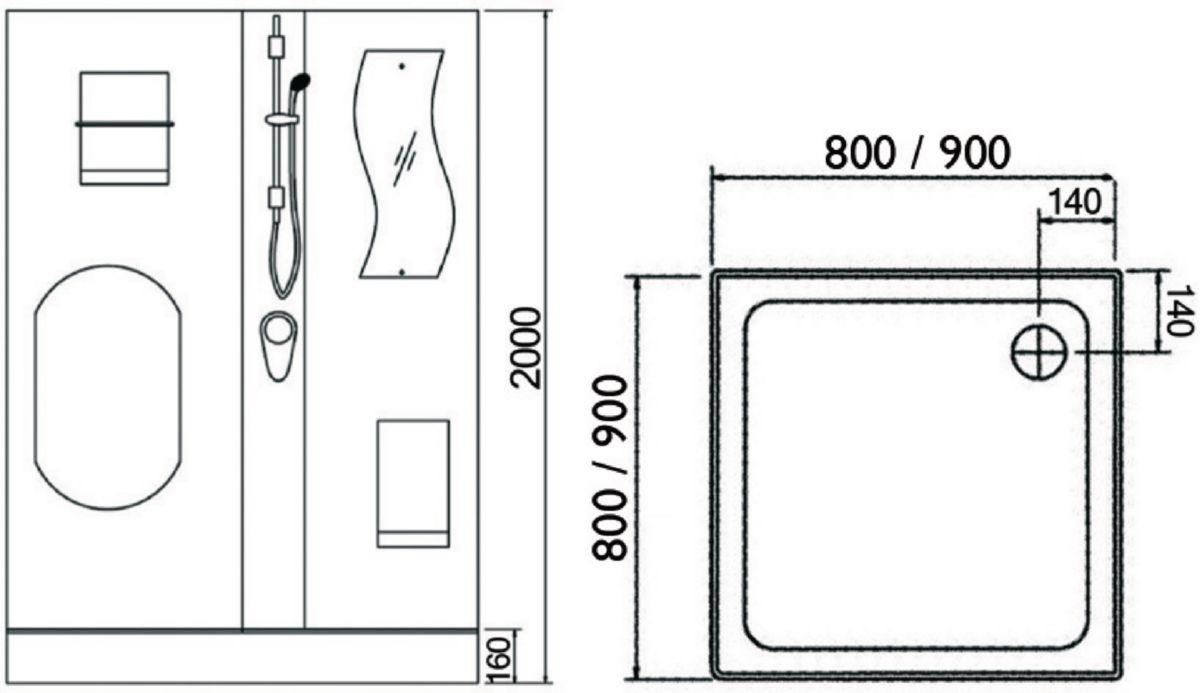 Cabine de douche CONCERTO 2 80 x 80 cm accès d'angle coulissant