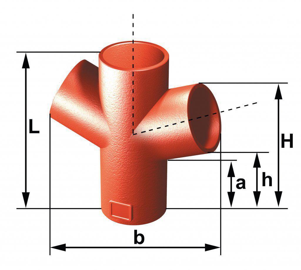 Embranchement Culotte double SMU S 68° en fonte diamètre nominal 150-150mm Réf. 156934 PAM