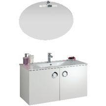 Meuble sous-vasque SEDUCTA 90 cm, 2 portes, blanc brillant