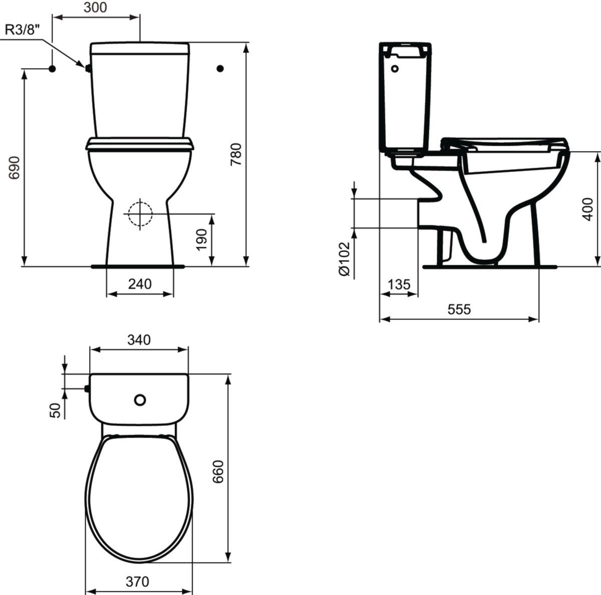 Pack WC HERCULE SH avec abattant standard, blanc Réf. E300601