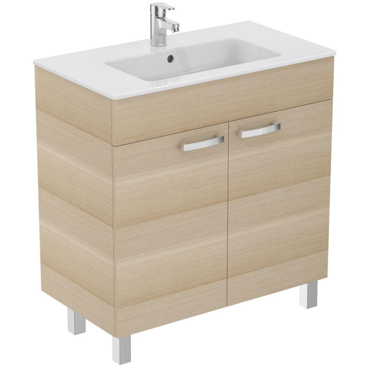 Ideal standard meuble ulysse avec plan 80 cm 2 portes Meuble salle de bain 50 cm