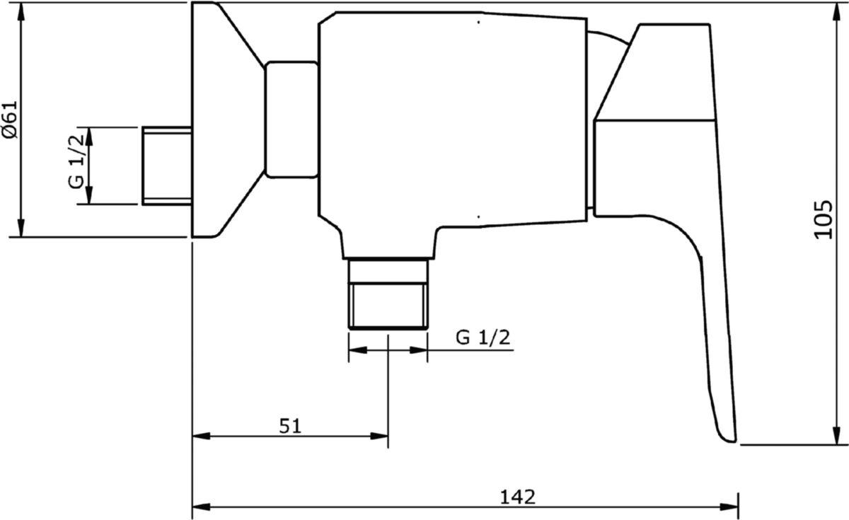 Mitigeur douche CONCERTO 4 cartouche céramique avec point dur, manette métal, raccords excentrés, NF, chromé 3461853