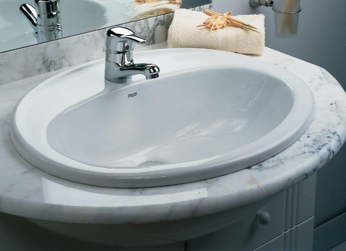 ROCA - Vasque à encastrer JAVA\'N 56 x 47,5 cm, trou percé pour la ...