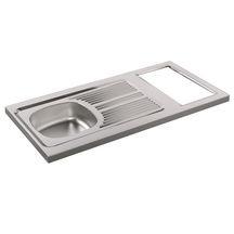 Evier cuisinette PMR en inox 18/10 toilé, hauteur 5 cm, 1 cuve profondeur 10 cm, vidage à l'arrière, découpe pour domino, vidage complet, bonde diamètre 5 cm, bouchon plastique réf. CPBH120G00