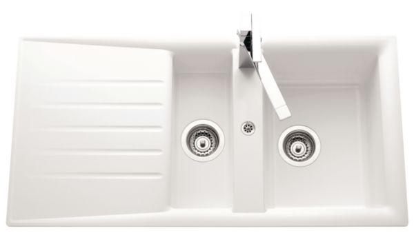 Evier NATURE Primeo 2 98x50cm 1 1/2 cuve 1 égouttoir bonde D90mm réversible blanc