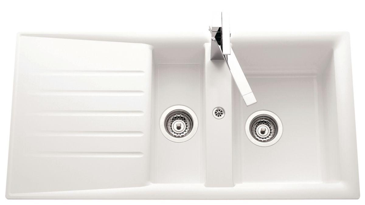 evier nature primeo 2 98x50cm 1 1 2 cuve 1 gouttoir bonde d90mm r versible blanc envie de. Black Bedroom Furniture Sets. Home Design Ideas