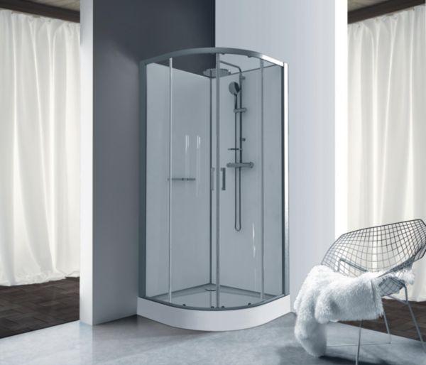 Cabine de douche Kara quart de rond 90 porte coulissante verre transparent avantage blanc