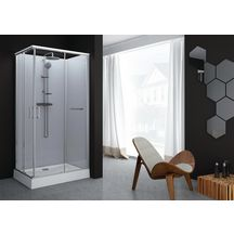 Cabine de douche Kara rectangle 80x120 porte coulissante verre transparent avantage blanc Réf. L11KA4R0201