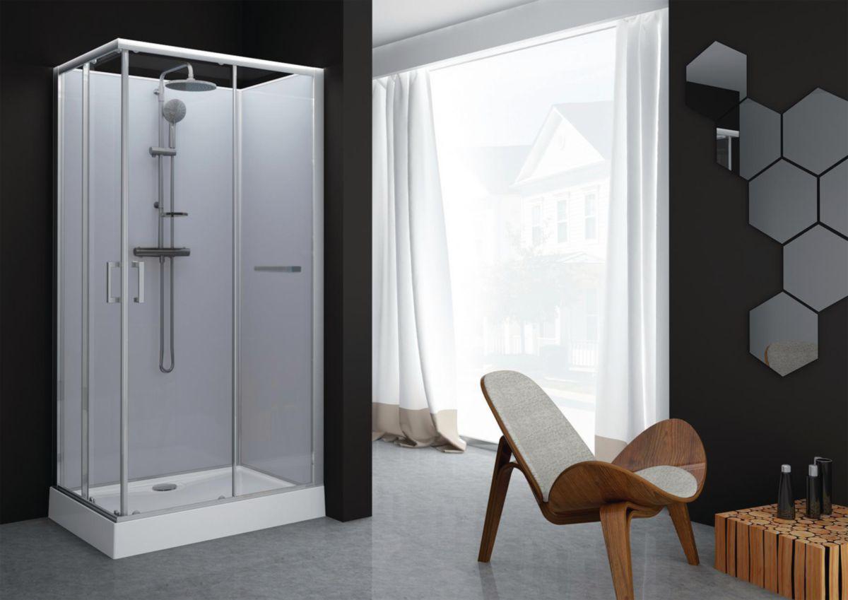 Cabine de douche Kara rectangle 80x120 porte coulissante verre transparent avantage blanc