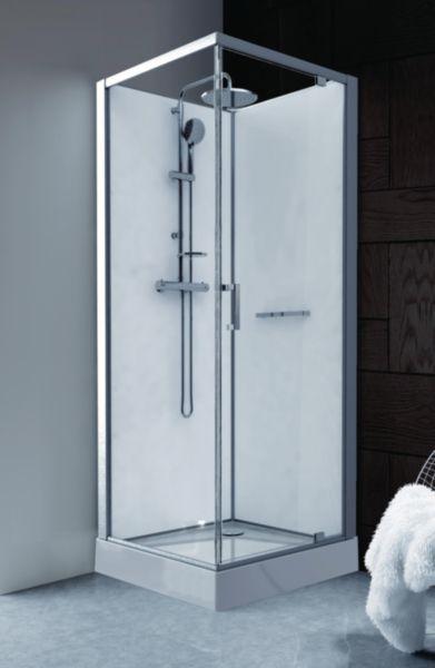 Cabine de douche Kara carre 90 porte pivotante verre transparent avantage blanc