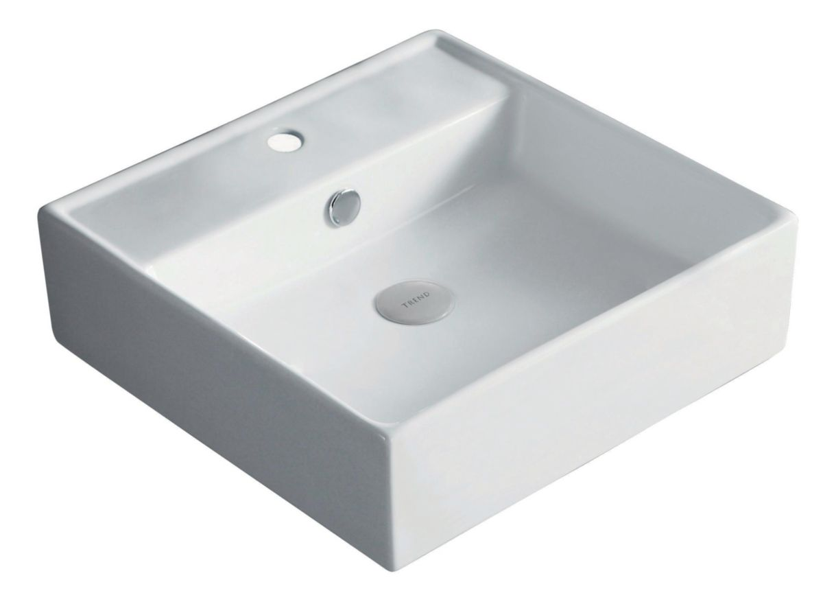 vasque en gres Vasque à poser Domino carré 46,5 x 46,5 cm avec plage de