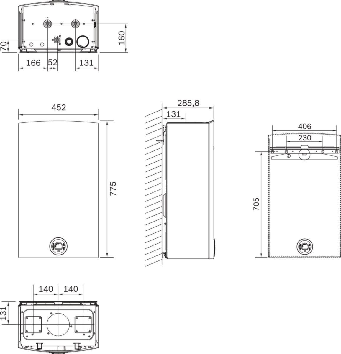 Chauffe eau Ondéa Hydrosmart Compact 12 L ventouse gaz butane Classe énergétique A réf. 7736502436