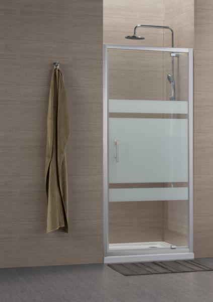 Paroi de douche Concerto accès de face porte pivotante 70x70cm profilé argent brillant verre sérigraphié