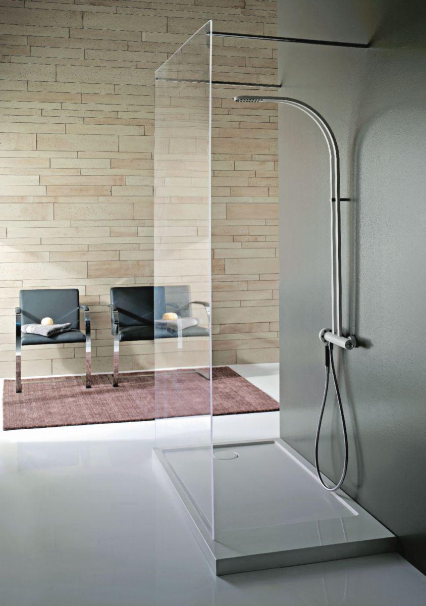 Colonne de douche thermostatique PHILO blanc chromé totalement en métal douche et douchette avec mousseurs flexible en PVC anti-torsion 1,50