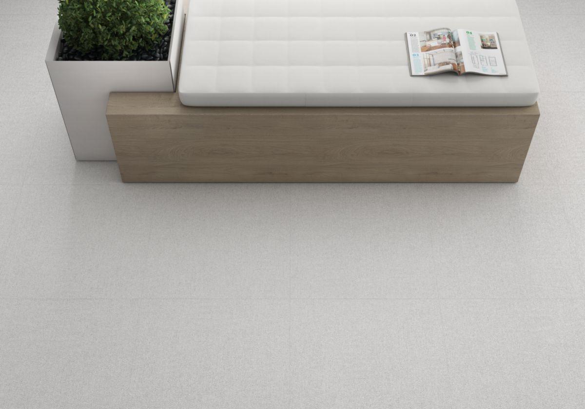 Grès cérame émaillé Roca Fabric blanco rectifié 30x60cm FCWT657011