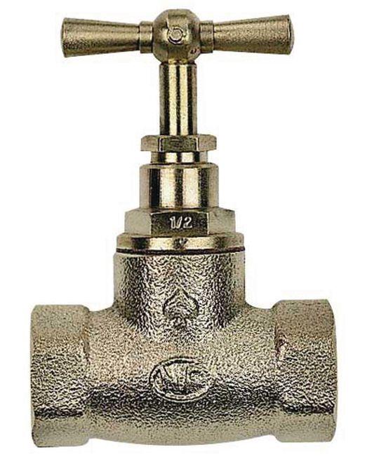 Robinet d'arrêt FF diamètre 12x17 laiton brossé Réf 136559