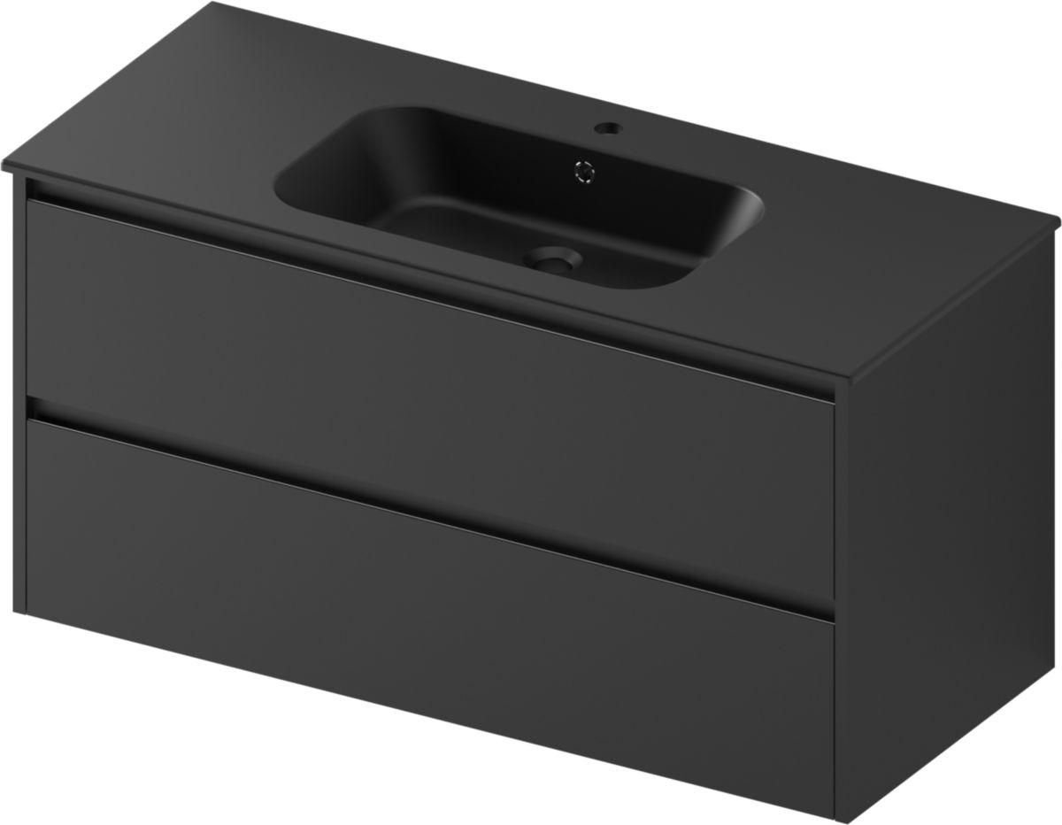 Plan de toilette all day vasque centrée 120 cm céramique noir mat réf.  LAVALUINCXR58190