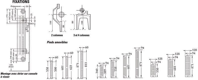 Radiateur en fonte horizontal SAVANE/RAFAEL 2 type S3 puissance 75,5 watts largeur 102 mm hauteur 480 mm réf. C13334000