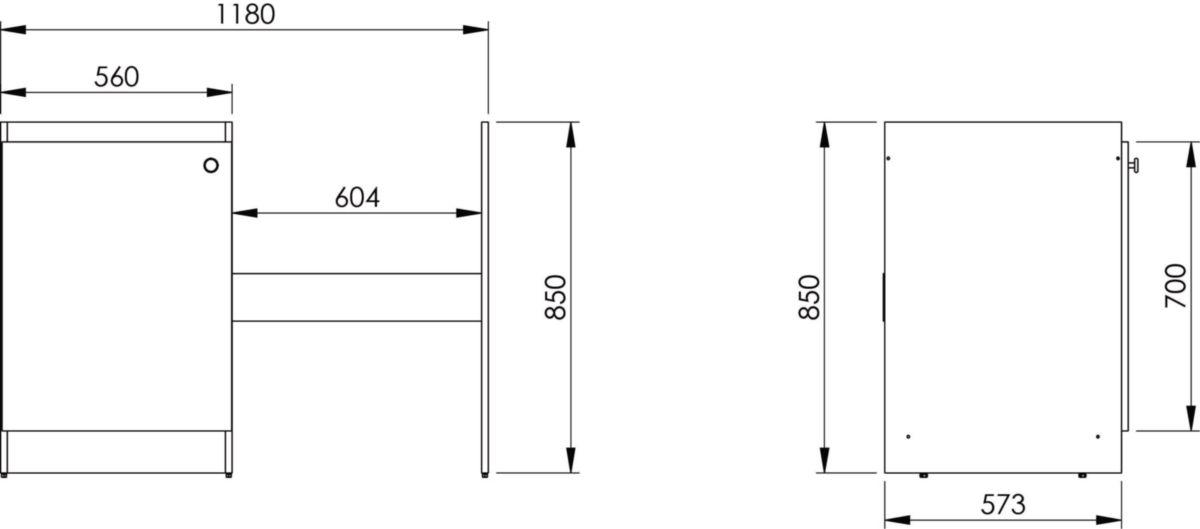 Meuble cuisinette mélaminé pour lave vaisselle, épaisseur 16 mm, 1 étagère, 1 porte, vérins de réglage. réf. ABCF120D02