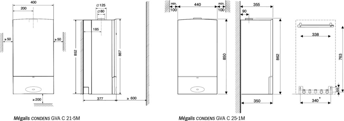 Chaudière murale gaz mixte à condensation MEGALIS CONDENS GVAC 25 - 1 M NAT Classe énergétique A réf. 7738100334